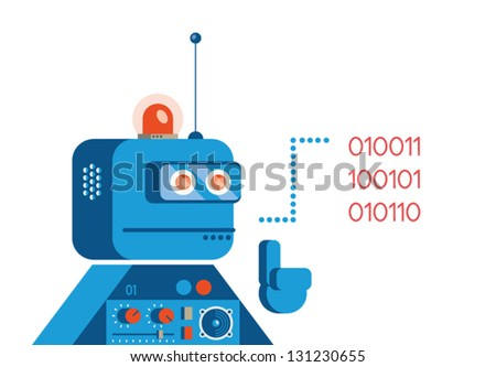 Robot saying in computer language.Concept for support service.