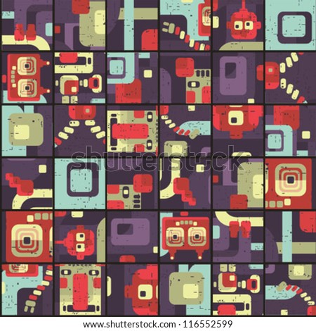 Robot seamless pattern in puzzle Vector retro texture.