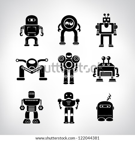 robot set - stock vector