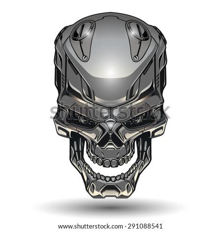 Robot skull illustration - stock vector