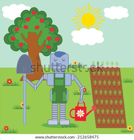 robot standing in the garden with shovel and watering pot