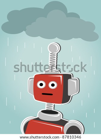 Robot standing under clouds and rain
