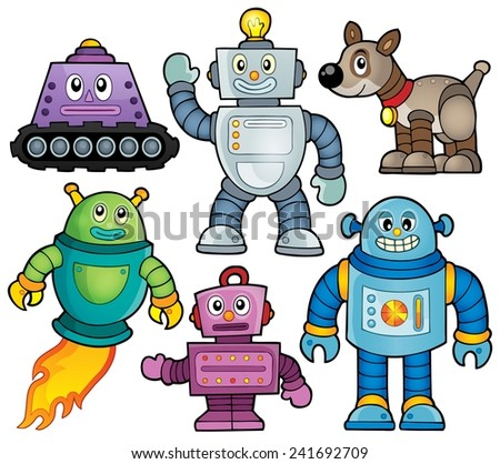 Robot theme collection 1 - eps10 vector illustration. - stock vector