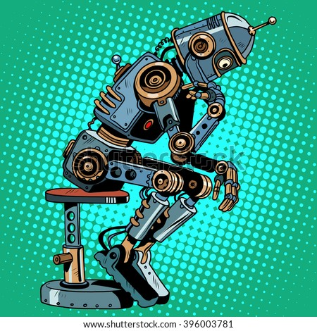Robot thinker artificial intelligence progress - stock vector