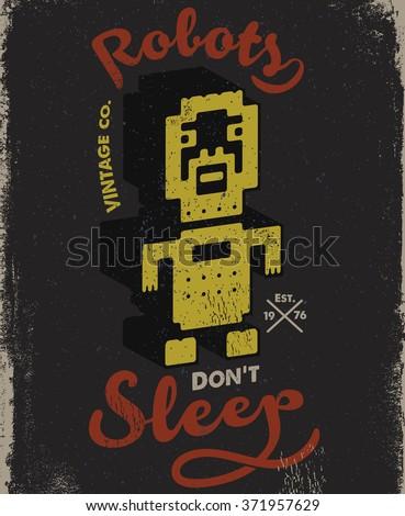 Robot vintage tee print design - stock vector