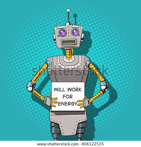 Robot with ads  pop art style vector illustration. Robot illustration. Comic book style imitation. Vintage retro style robot. Conceptual illustration - stock vector