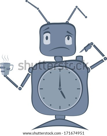 Robot with Clocks, Antenas and Cup of Coffee. - stock vector