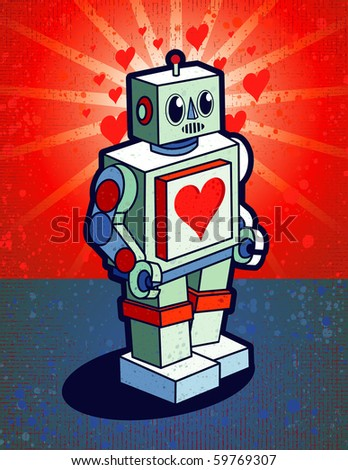 Robot With Heart On Chest - stock vector