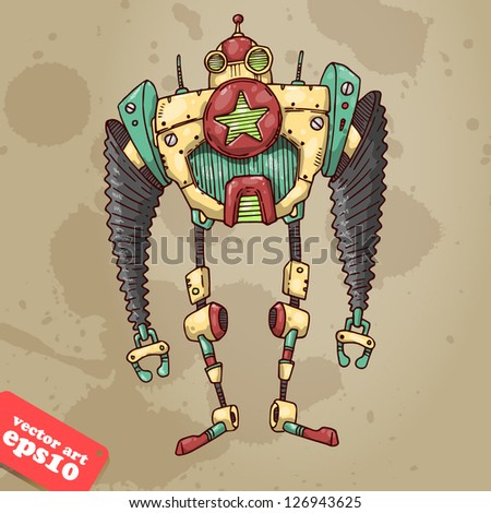 robot with star - stock vector