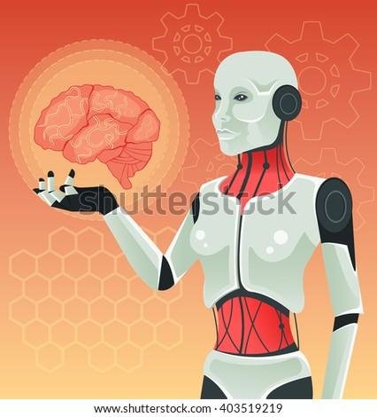 Robot woman holds human brain. Vector illustration - stock vector