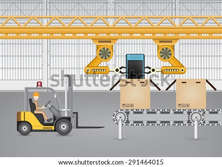 Robot working with mobile phone in factory. - stock vector