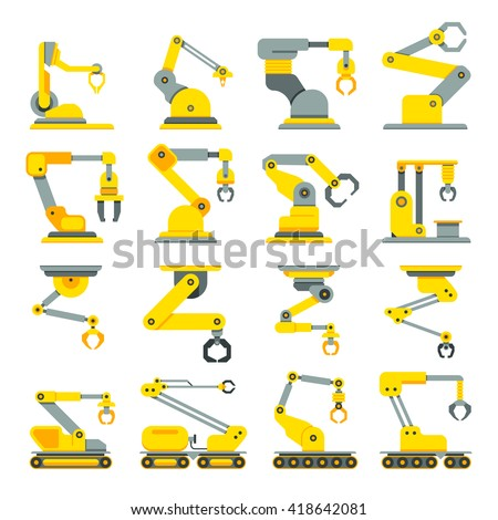 Robotic arm, hand, industrial robot flat vector icons set. Robot industry technology and machine arm robot for manufacture illustration - stock vector