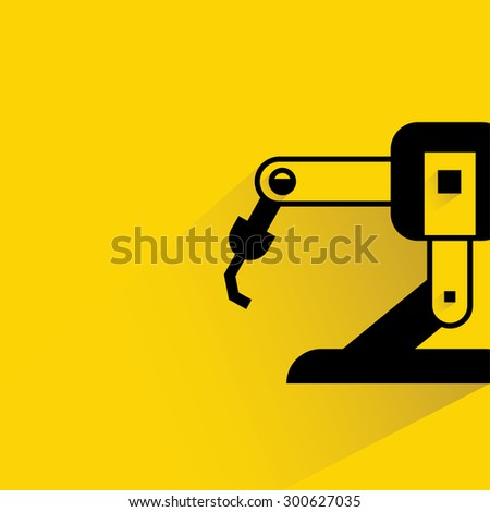 robotic hand icon  on yellow background, flat and shadow theme - stock vector