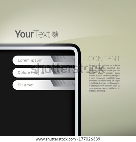 Robotic interface design for your content. Robotic edition. - stock vector