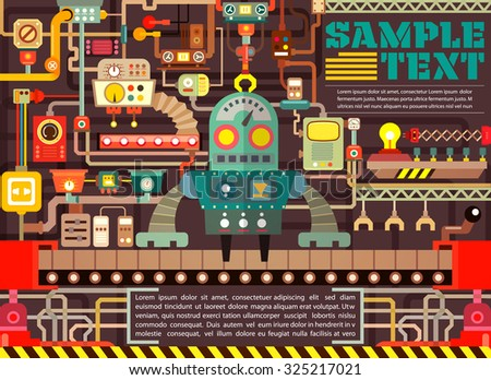 Robotic operator manufacturing on factory, illustrator Vector