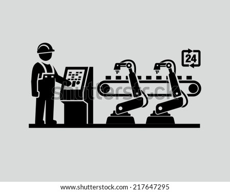 Robotic production line  - stock vector