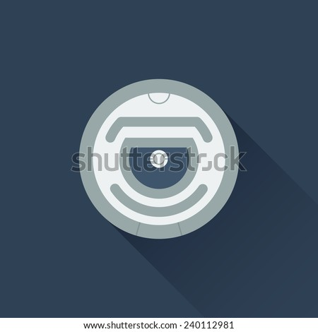 Robotic vacuum cleaner flat design. Vector icon - stock vector