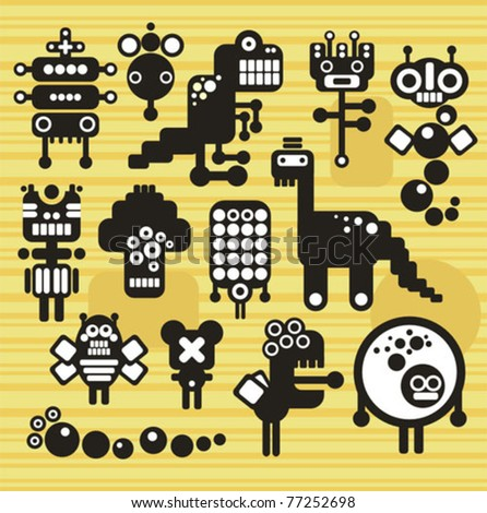 Robots and monsters collection #15. Vector illustration.