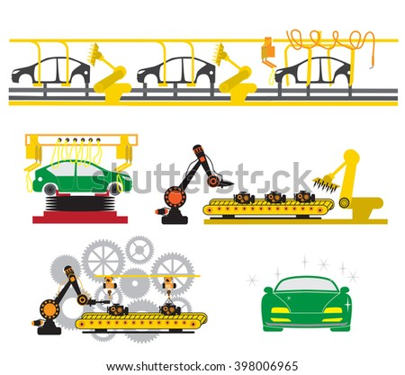 Robots are working with auto parts in factory. - stock vector