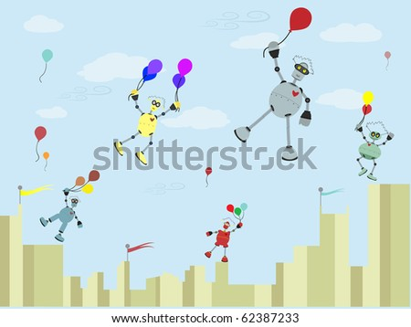 Robots Carrying balloons float up into the air vector illustration