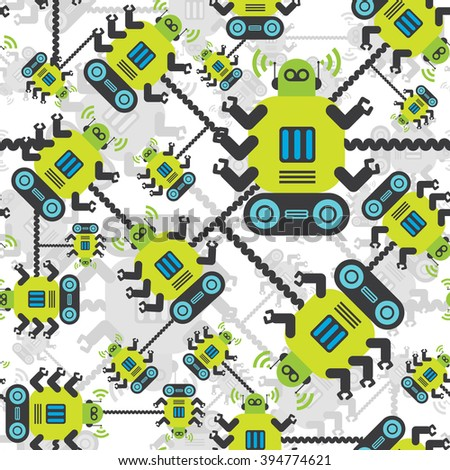 Robots color seamless pattern on white background. Green and gray robots. - stock vector