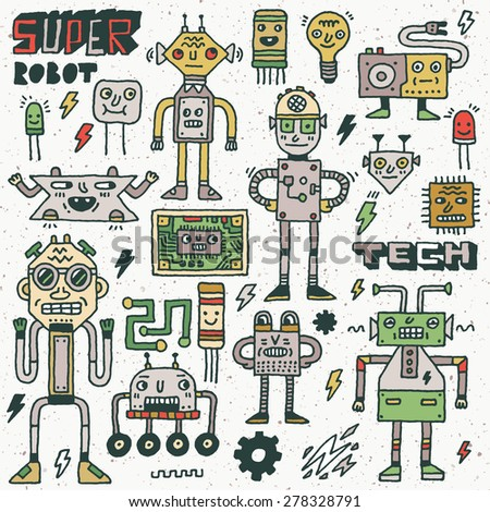 Robots,Electrical, Circuits, Microschemes.Cool and cute funny vector set 2. Hand drawn illustration. Colorful pattern. - stock vector