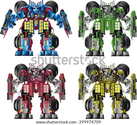 robots of different colors - stock vector