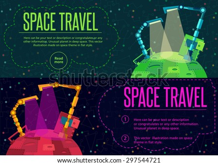 Robots planet. This vector illustration made on space theme in flat style.   - stock vector