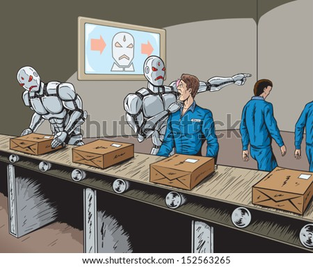 Robots replacing human workers - stock vector