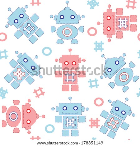Robots seamless pattern in blue and red colors - stock vector