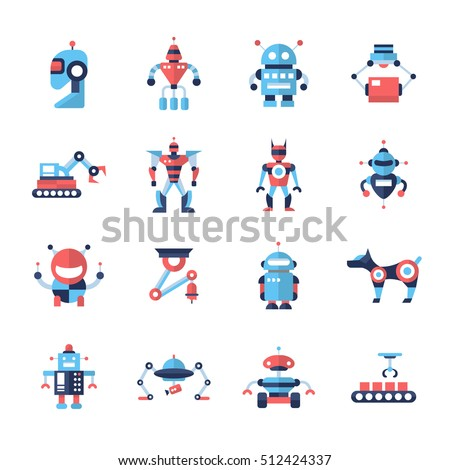 Robots Set Modern Vector Flat Design Stock Vector 512424337 ...