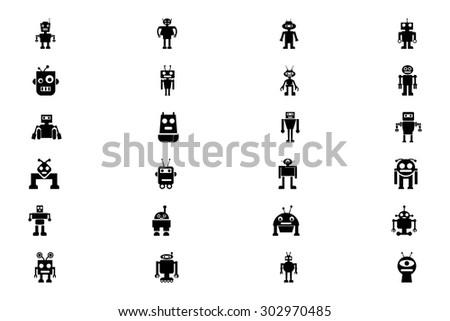 Robots Vector Icons 4  - stock vector