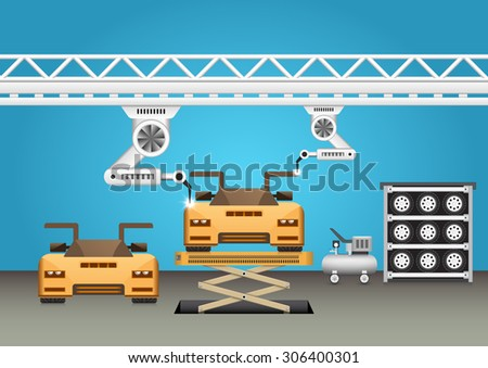 Robots working with super car with blue background. - stock vector