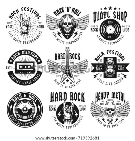Stock Vector Rock And Heavy Metal Music Set Of Nine Vector Emblems Labels Badges Or Logos In Vintage