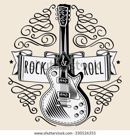 Rock and roll guitar emblem - stock vector