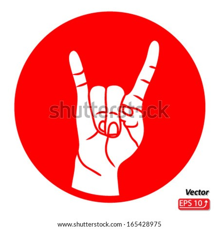 Rock and Roll hand sign red isolated on white background vector