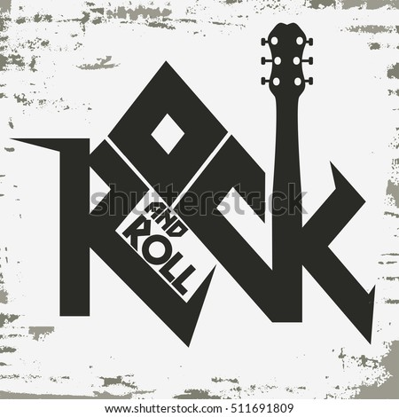 Rock and roll music grunge print, vintage label, rock-music tee print ...