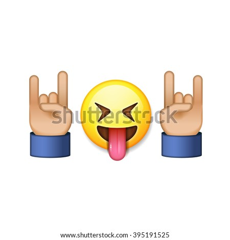 Rock and roll sign, smiling emoji icon, vector illustration. - stock vector