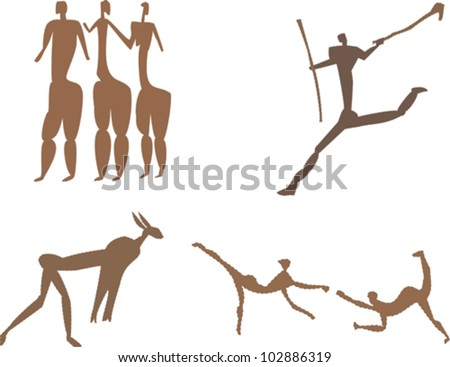 Rock art figures from ancient African culture representing mythical figures, animals warriors and hunters - stock vector