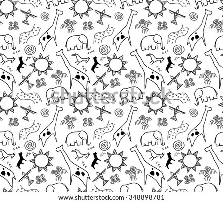 rock art seamless pattern in black and white - stock vector