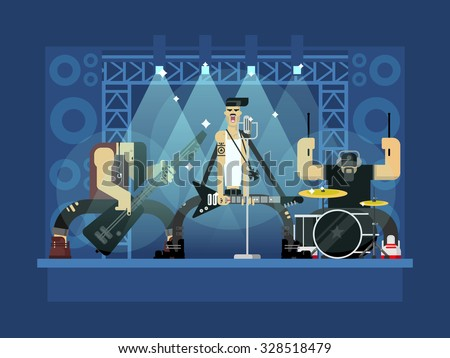 Rock band concert, guitar and musician, musical instrument, sound and performance, stage and guitarist, flat vector illustration - stock vector