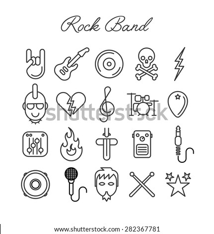 Rock Band Icon Set. Vector Illustration - stock vector