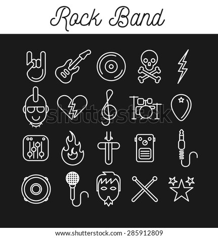 Rock Band Icon Set. Vector Illustration in Line Art Style