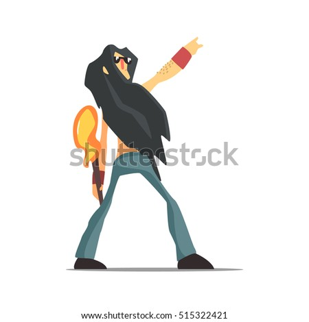Rock Band Member Funny Character With Long Black Hair