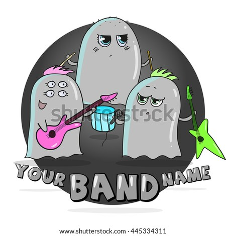 Rock band of cute cartoon aliens - stock vector