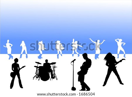 Rock band party silhouettes - stock vector