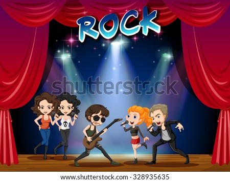 Rock band playing on stage illustration - stock vector