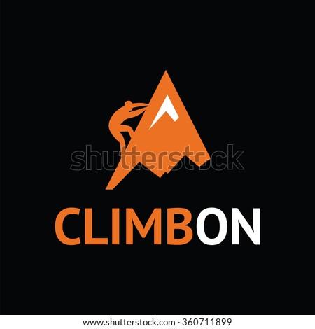 Rock climber. Vector illustration. - stock vector