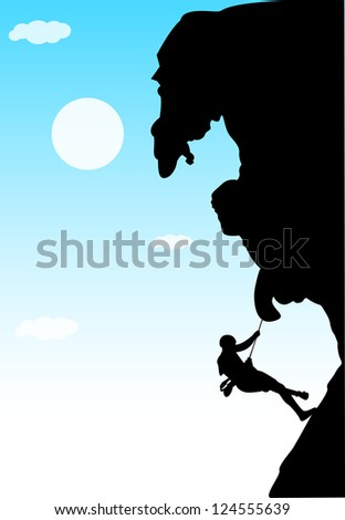 Rock Climber , Vector illustration of a man figure hanging on the cliff - stock vector