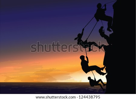 Rock climbing at sunset on the beach. - stock vector